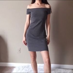 Express charcoal textured off the shoulder bodycon